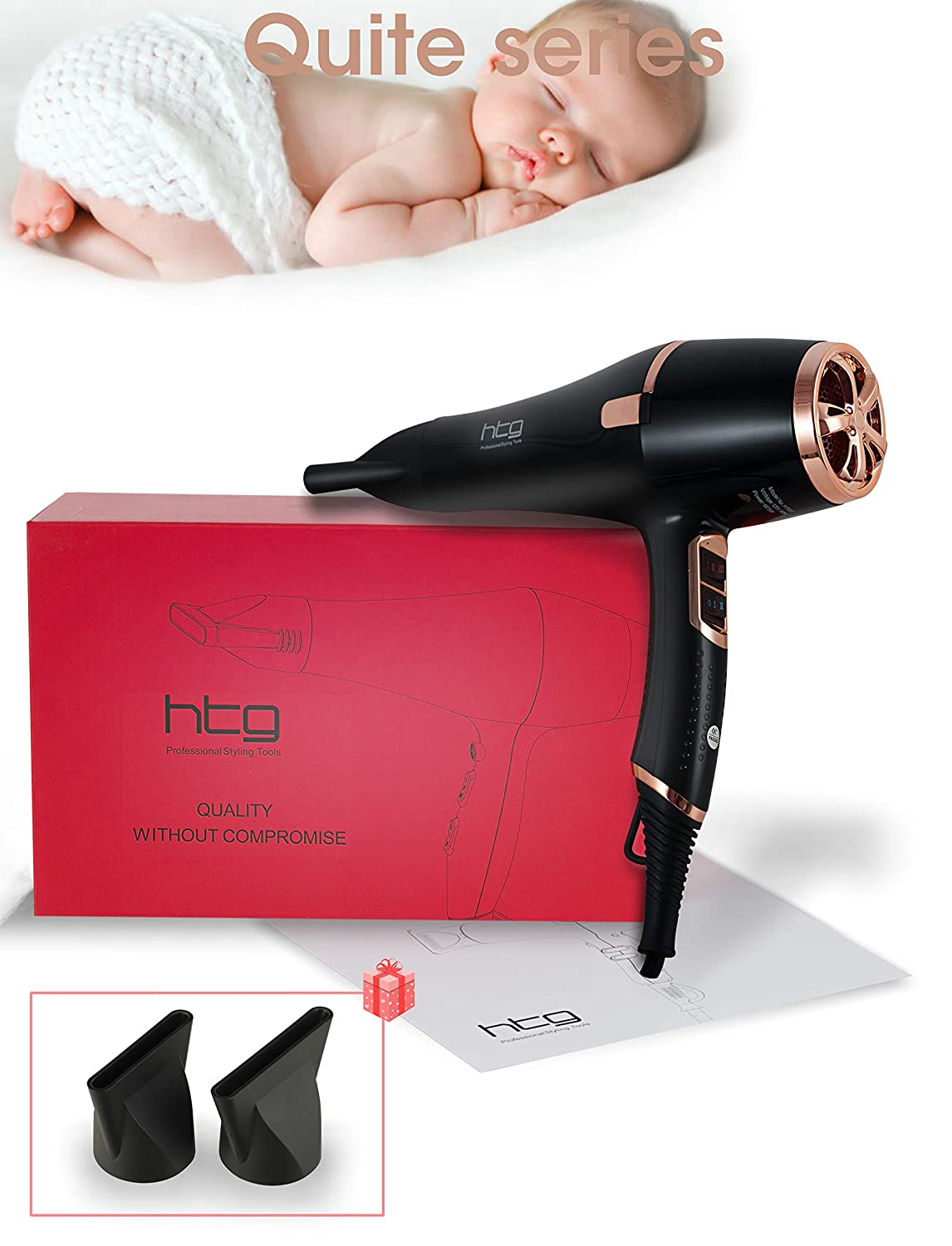 HTG Ionic Hair Dryer 1875W Negative Ion Blow Dryer 2 Speed and 3 Heat Setting AC Motor Salon Use Quality Hair Blow Dryer With Negative Ion and AC Motor Professional Hair Dryer HT037 Black