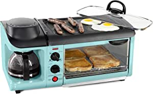 Nostalgia Retro 3-in-1 Family Size Electric Breakfast Station, Coffeemaker, Griddle, Toaster Oven, Aqua