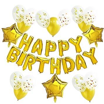 """KUNGYO Decoraciones de Fiesta de Cumpleaños para Adultos y Niños, Oro"""" Happy Birthday"""""""