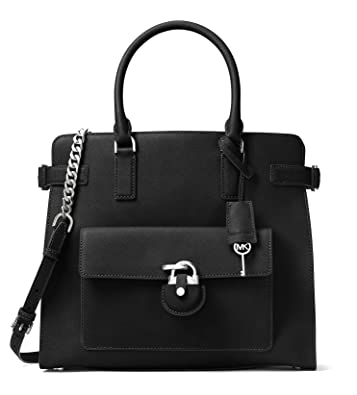 52b9f77f57469f Amazon.com: Michael Kors Emma Large North South Saffiano Leather Tote (Black):  Shoes