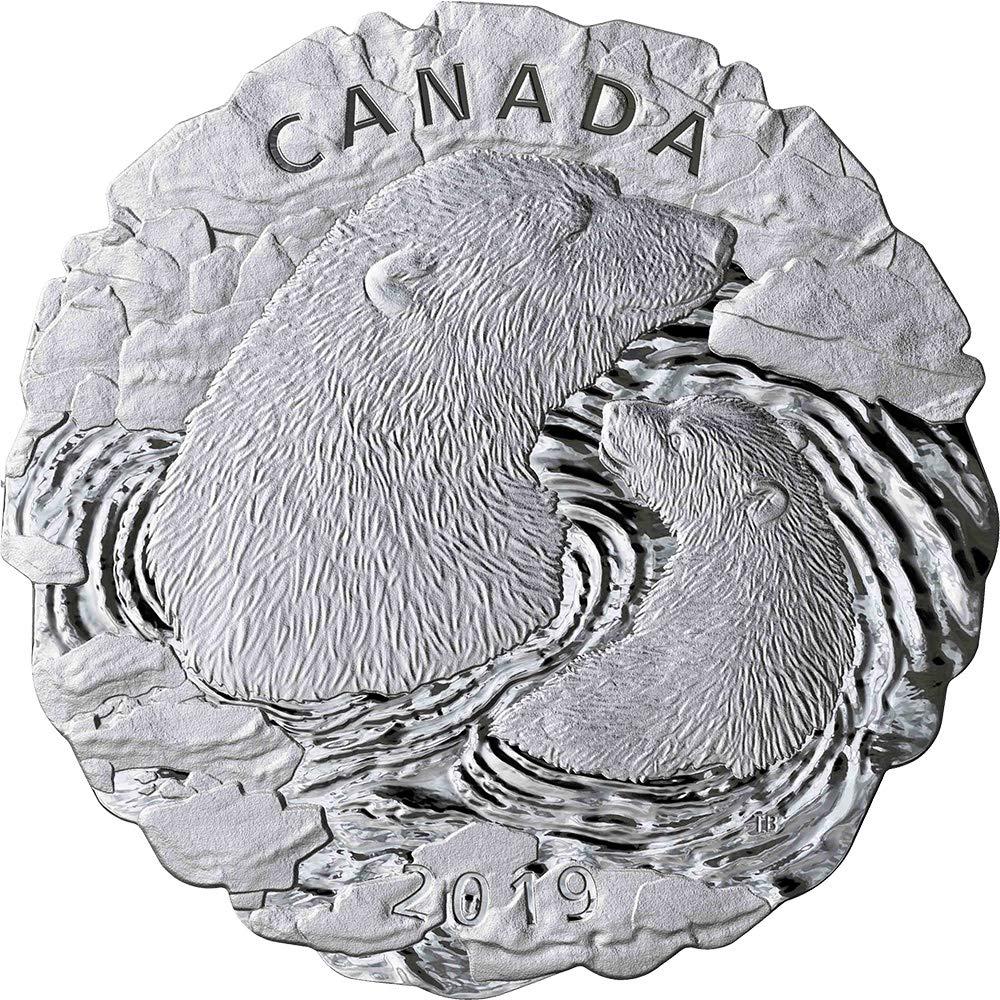 Power Coin Polar Bears Eisbär Mother and Cub 5 Oz Silber Münze 50 Canada 2019