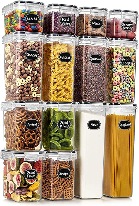 Wildone Airtight Food Storage Containers - BPA Free Cereal & Dry Food Storage Containers Set of 14 for Sugar, Flour, Snack, Baking Supplies, with 20 Chalkboard Labels & 1 Marker