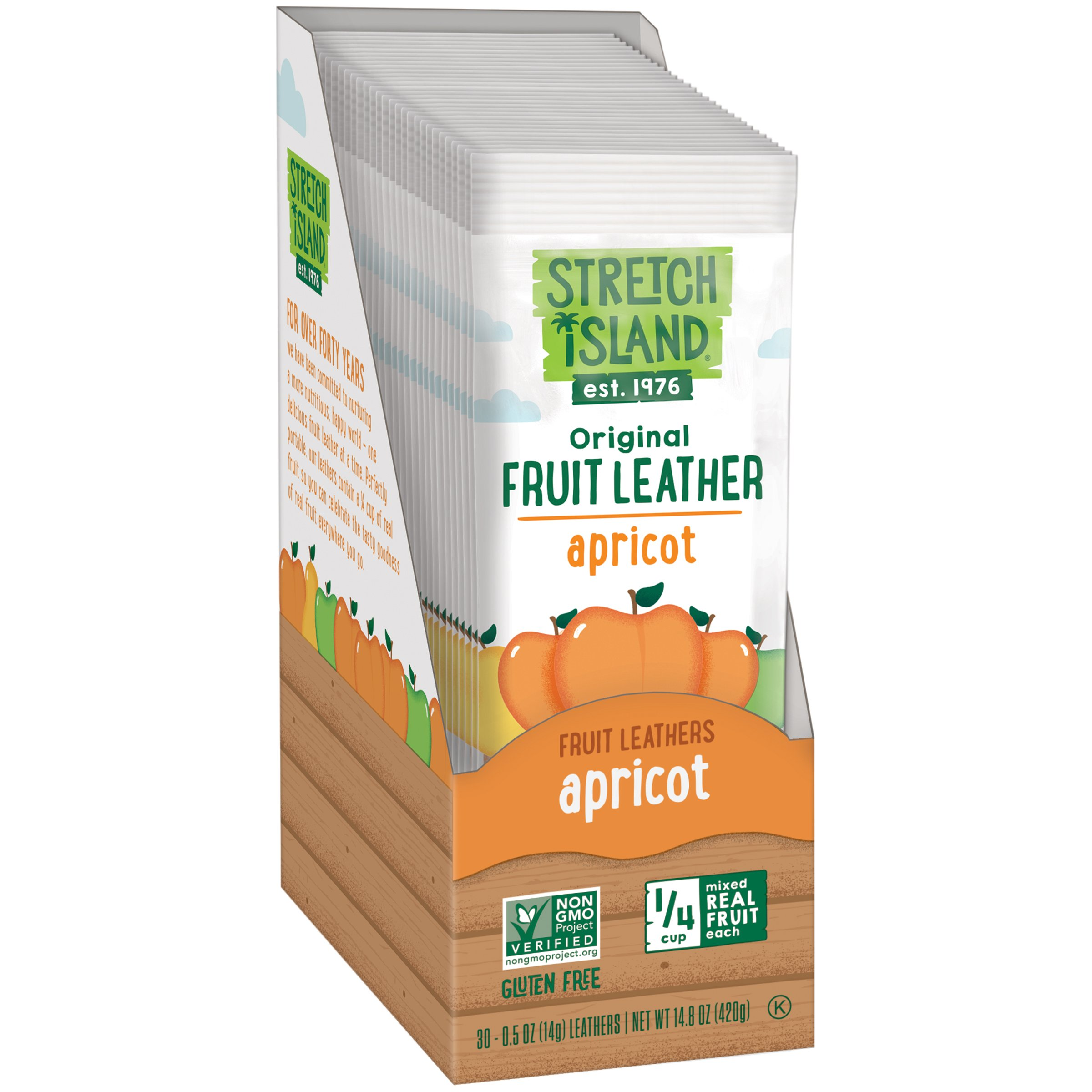 Stretch Island Tangy Apricot Fruit Leather, 0.5-ounce Bags (Pack of 30) by Stretch Island