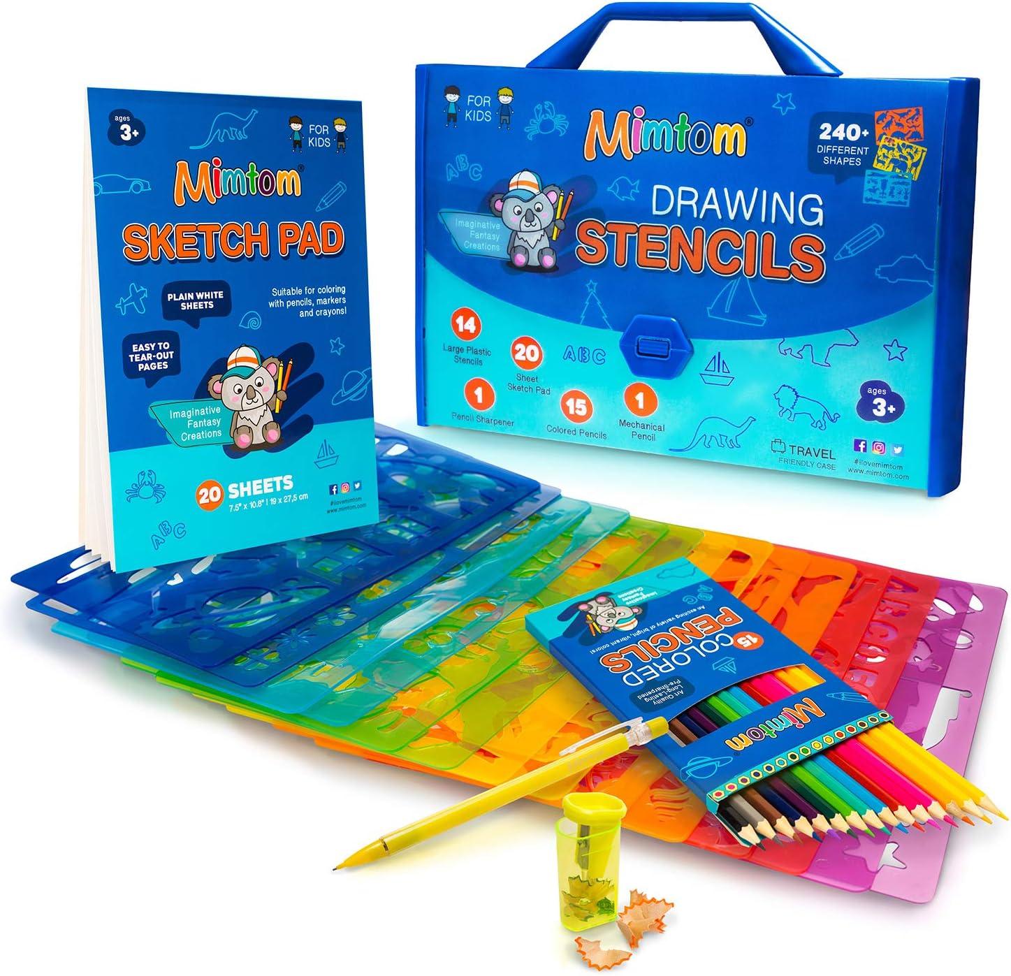 Mimtom Plantillas de Dibujo Kit de Manualidades para niños y Chicos con 240 Figuras   Plantillas para Pintar Que desarrollan la Creatividad   Desde los 3 años