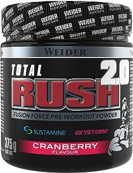 Weider Total Rush 2.0 Sabor Arándano, Fórmula con 6g de Citrulina, Creatina, Arginina, Sustamine, Oxystorm, Beta-Alanina, extra de cafeína, Baja en ...