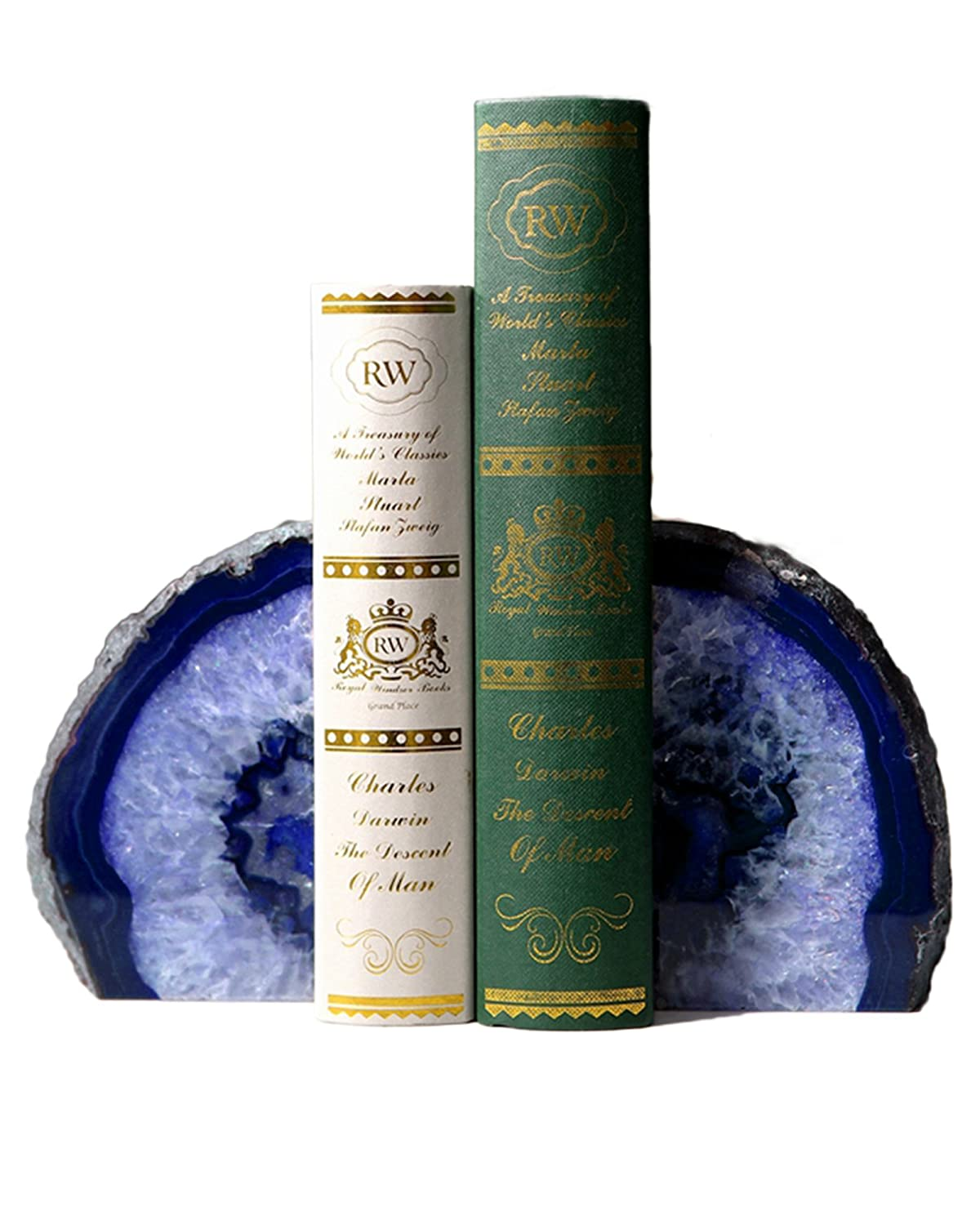 AMOYSTONE Blue Agate Bookends 2-3 lbs Polished Dyed for Books 1 Pair with Rubber Bumpers