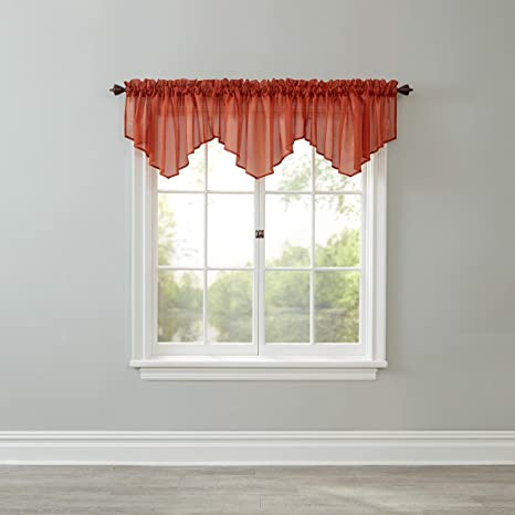 Amazon Com Brylanehome Sheer Voile Ascot Valance Autumn Leaves Home Kitchen