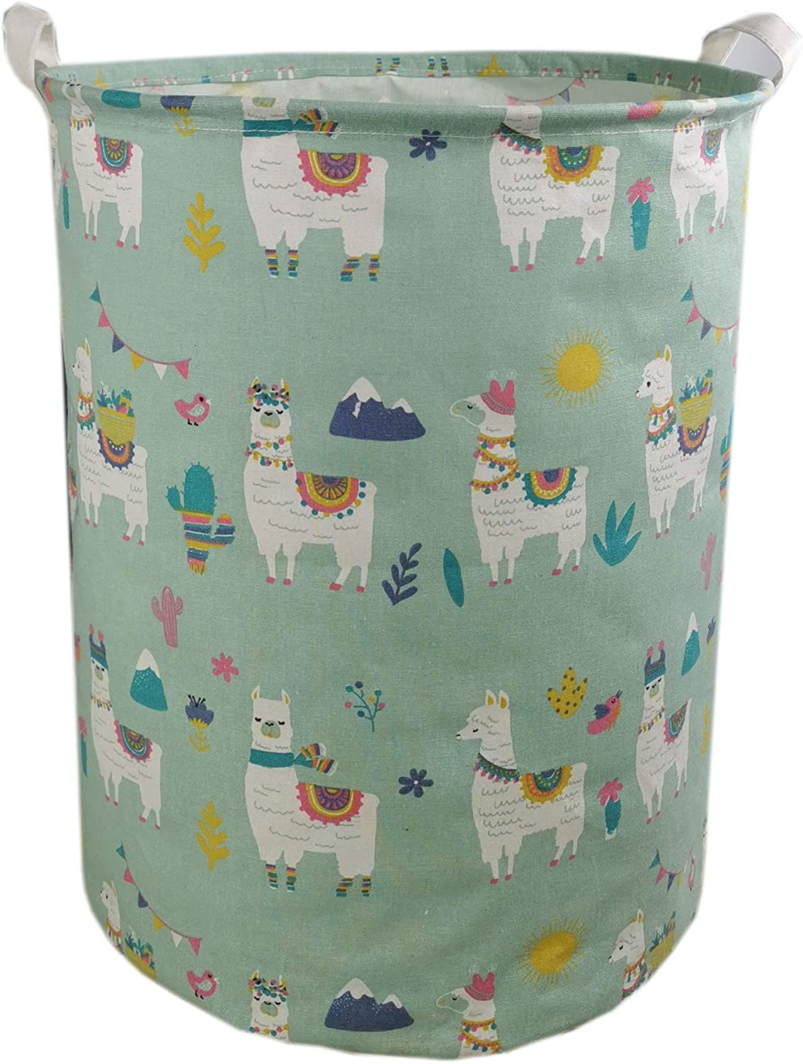 Collapsible Toy Storage Bin Waterproof Organizer with Handles and Lid for Baby Nursery Kids Room Blue Dinosaur Injoy Large Storage Basket Laundry Hamper Home Decor