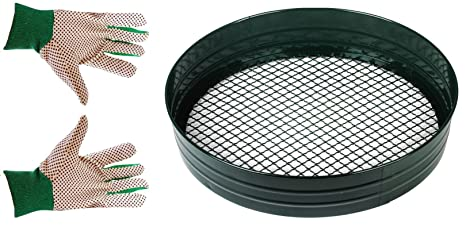 0d86615b296315 Heavy Duty Metal Garden Riddle Gardening Soil Compost Sieve Sift + Garden  Gloves (1