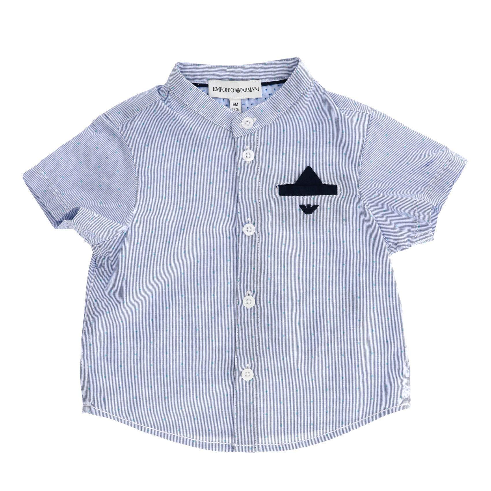 Emporio Armani Luxury Fashion Baby-Boys Shirt Summer Blue by Emporio Armani