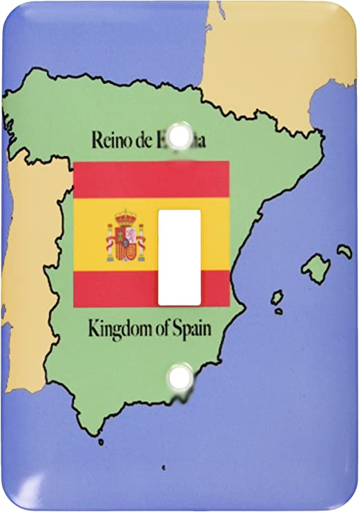 3drose Lsp 40068 1 The Map And Flag Of Spain With The Kingdom Of Spain Printed In Both English And Spanish Single Toggle Switch Switch Plates Amazon Com