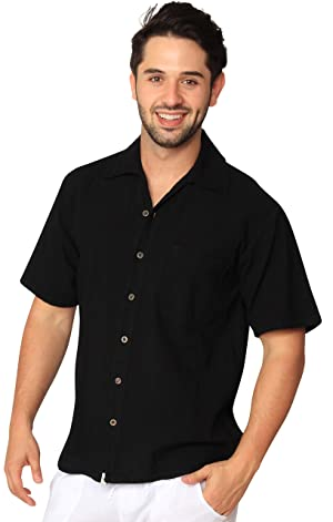 Cotton Natural Islander Button Down Short Sleeve Men's Shirt White (3Xlarge, Black)
