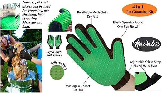 Amazon.com : Pet Grooming Glove Green Cat Dog brush Shed defender hair remover Deshedding Dematting tool Kit Flea Tick lice comb Pet Hair Lint remover ...