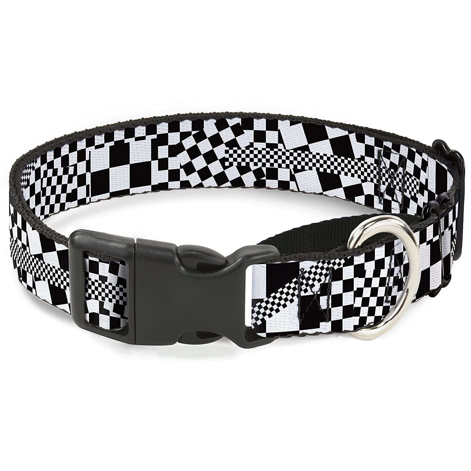 Buckle-Down Funky Checkers Black White Martingale Dog Collar, 1  Wide-Fits 11-17  Neck-Medium