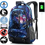 ANTSANG Backpack Bookbag for School Student College Business Travel with USB Charging Port Fit Laptop Up to 15.6 Inch Water Resistant Night Light Reflective Anti Theft (Galaxy)