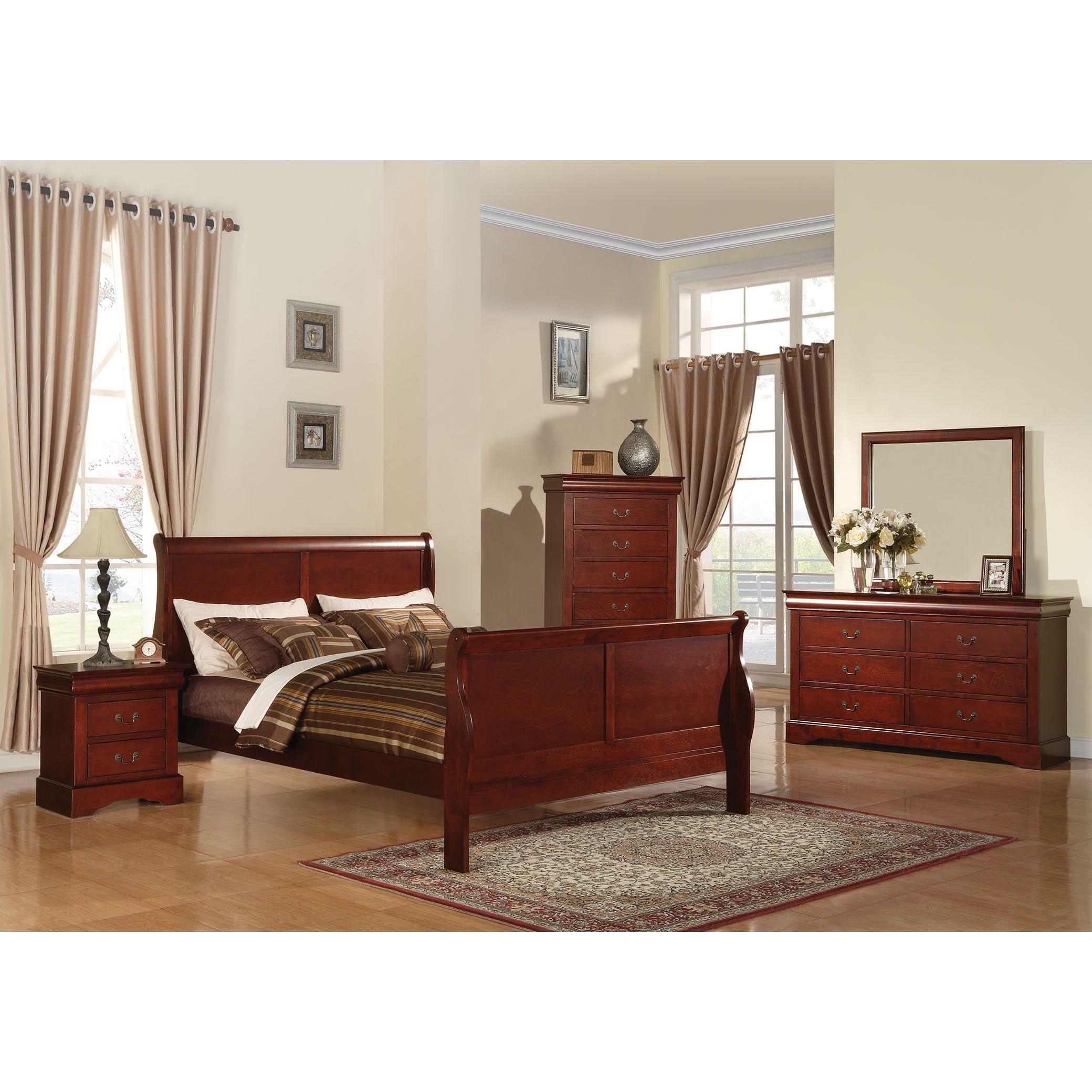 Acme Furniture Louis Philippe III 4-Piece Cherry Bedroom Set Eastern King