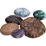 K Kackool 6-Piece Set Parlor Floor Cushion Cover Big pebbles Cushioncover Pillowcase With Colored Stones Kids Room Rock…
