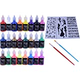 Fabric Paint Set with Brushes & Stencils: Craft Puffy Paint for Decorating Shirts, Denim, Upholstery, Textile or Glass - 3D Puff Paint Kit with Glitter and Glow in The Dark Paint - 24 1 Oz Bottles