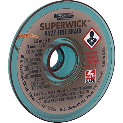 "MG Chemicals Desoldering Braid #5 Fine Braid Super Wick with RMA Flux, 5' Length x 0.125"" Width, Brown: Solder: Industrial & Scientific"