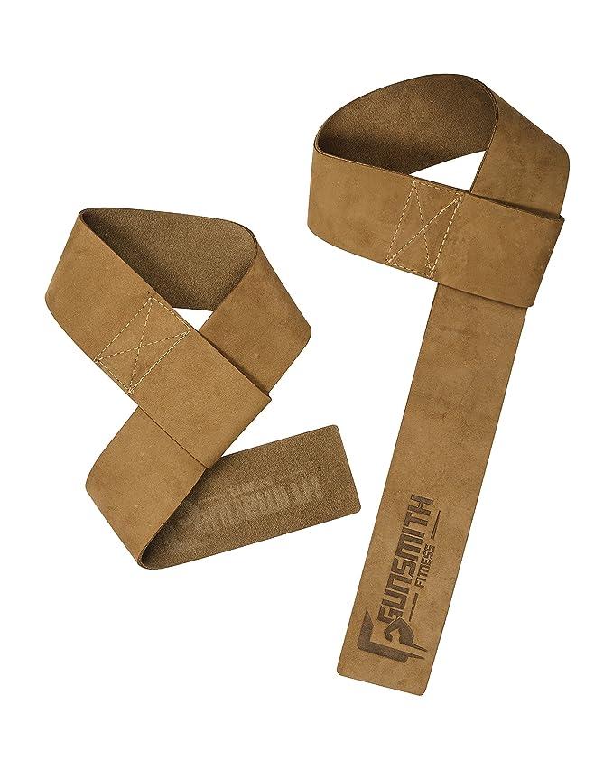 Gunsmith Fitness - Correas para levantamiento de pesas de piel auténtica prémium de 5 cm de ancho, comodidad superior y agarre inmejorable, ...