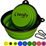 Zenify Dog Bowl Food & Water Feeder 2 Pack - Extra Large 1000ml 17.8cm & Small 400ml 12.7cm Collapsible Portable Foldable Travel Dish Leash Lead Slim Accessories for Puppy Dogs (Green XL/Green S)