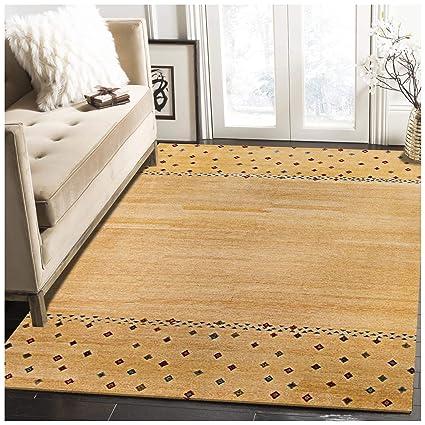 Amazon.com: Rugsville Gabbeh - Alfombra geométrica de lana y ...