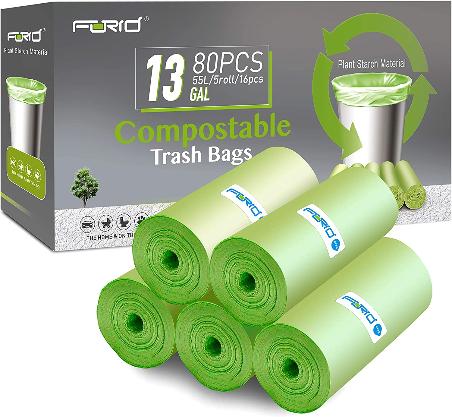 Compostable Trash Bags - FORID 13 Gallon Tall Kitchen Garbage Bags 80 Count Unscented Trash Can Liners 55 Liter Medium Wastebasket Bags for Bathroom Home Bedroom Office Garbage Can (5Rolls/Green)