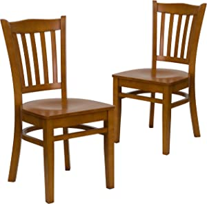 Flash Furniture 2 Pk. HERCULES Series Vertical Slat Back Cherry Wood Restaurant Chair