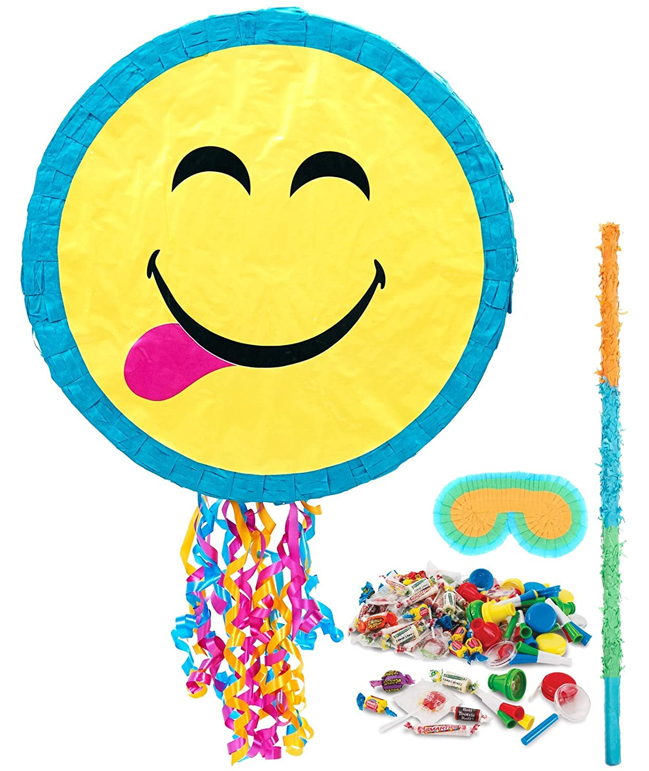 Cute Pull String Emoji Pinata with Candy