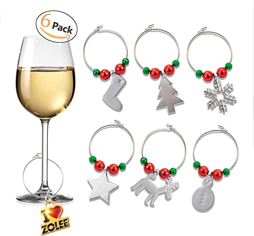 Wine Glass Charm Rings Silver Plated Qty 6