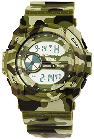 Hombres Reloj De Pulsera Verde Marrón Negro Camuflaje Mlitar + Caja Digital Plástico Silicona Cuero Fecha Sport Alarma Cronógrafo Luz Cuarzo Niños: ...