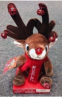 Rudolph Red Nose Reindeer Singing Dan Dee Plush Light Up Jingle Bells NWT Video