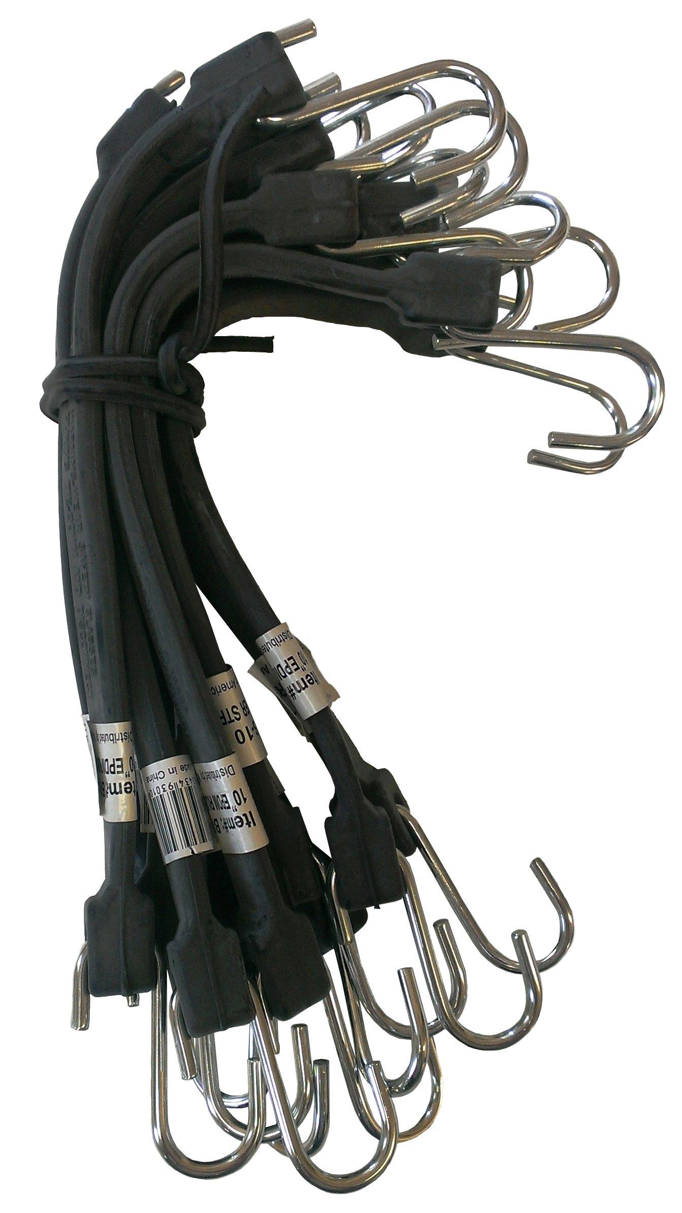 Kotap MBRS-10 EPDM Rubber 10-Inch Tie Down Strap, Black, 10-Piece by Kotap