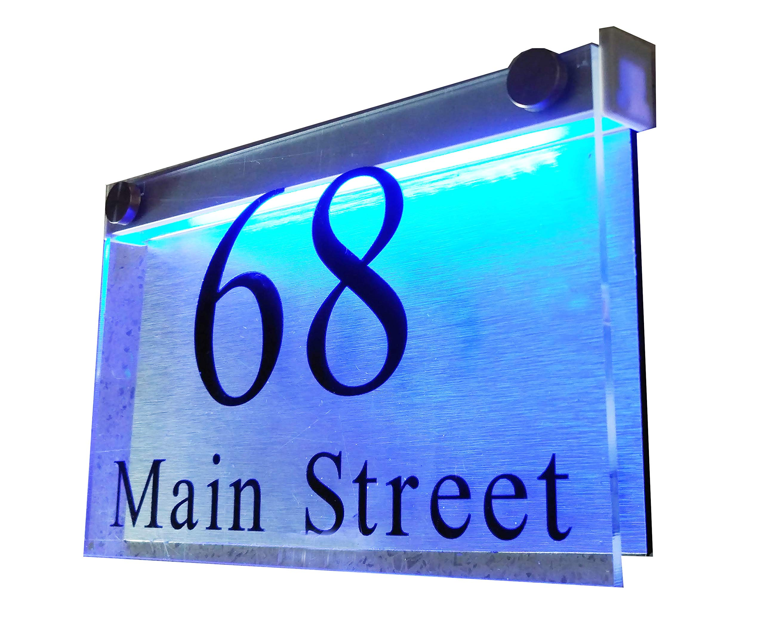 ThedisplayDeal LED Illuminated Modern House Numbers Address Plaque, 8''x5''x1'' Rectangle Clear Acrylic and Brushed Aluminum Background Double Panel (Rectangle Clear-Acrylic BlueLED)