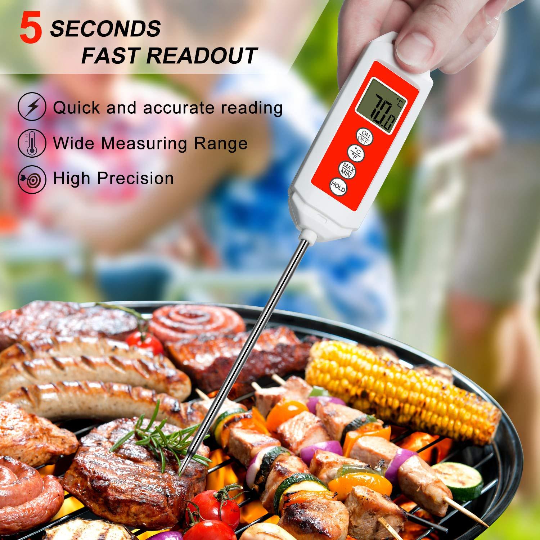 CHOELF Termómetro Digital de Cocina con Pantalla LCD, 5S Lectura Instantánea con Sonda de Acero Inoxidable, Apagado Automático, Apto para Carne, BBQ, ...