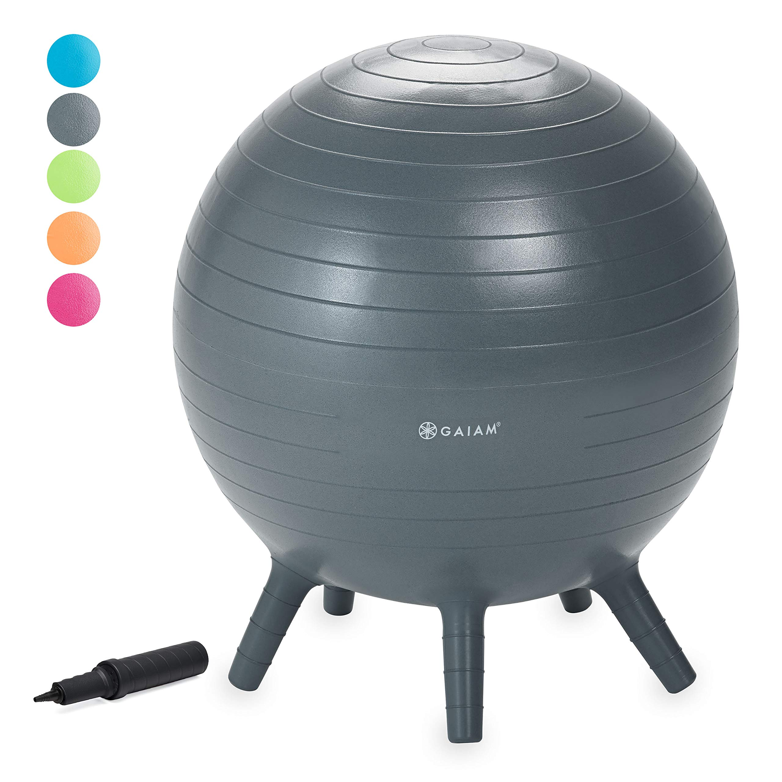 Gaiam Kids Stay-N-Play Children's Balance Ball - Flexible School Chair, Active Classroom Desk Seating with Stay-Put Stability Legs, Includes Air Pump, Grey, 45cm