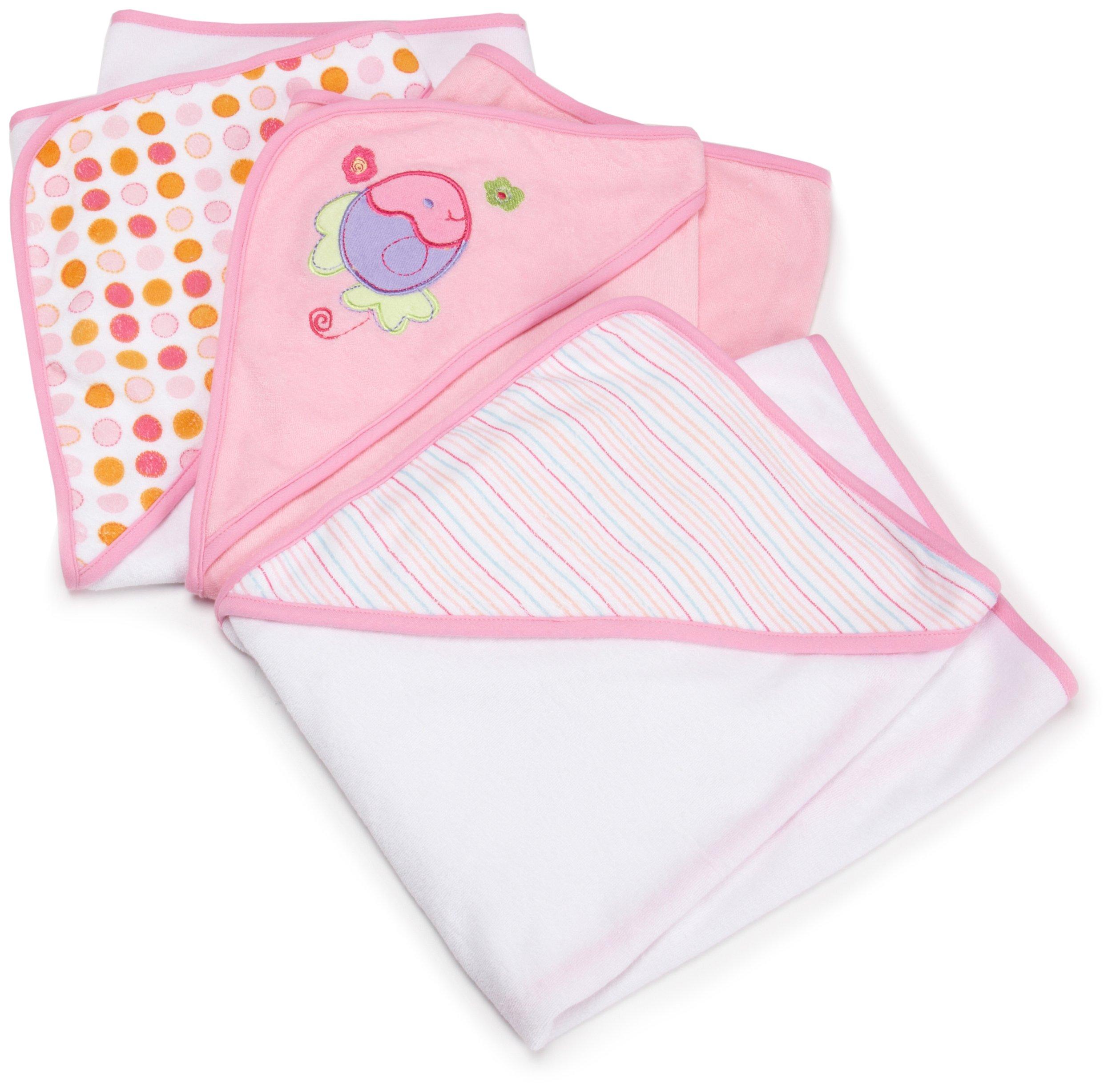 Spasilk 3 Pack Soft Terry Hooded Towel Set, Pink by Spasilk