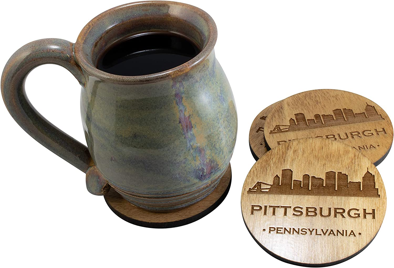 Pittsburgh Pennsylvania PA Souvenir 4 Piece Coaster New Home Decor Gift Set, Waterproof Thin Coat