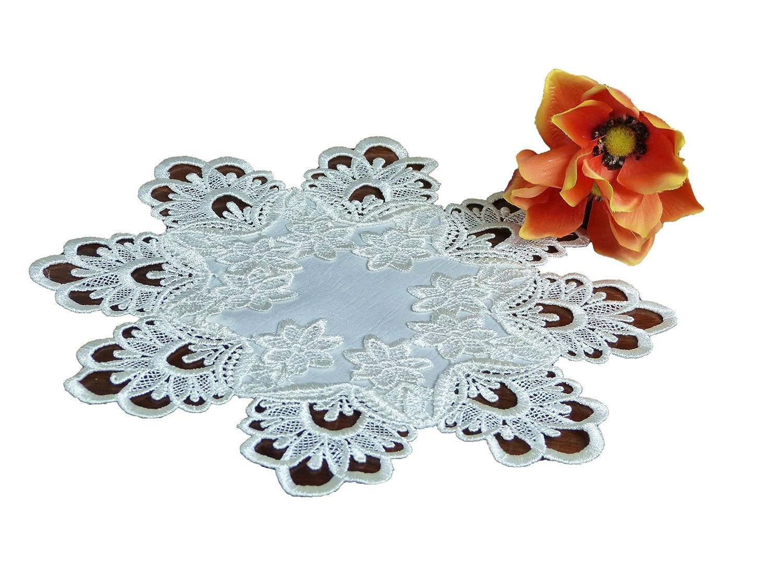 alta calidad 8 = 20cm encaje redondo Mantel de mesa decorativo color blanco y marfil crema