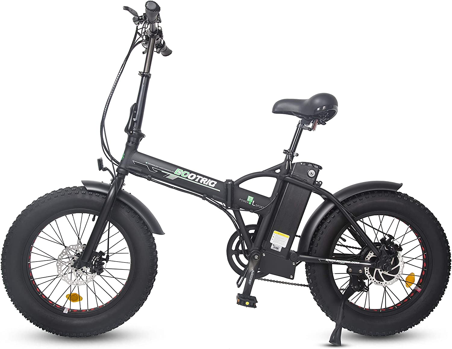 ECOTRIC Electric Foldable Bike Black Beach Snow Bicycle 20 4.0 inch Fat Tire Aluminum Frame Ebike 500W 48V 13AH Electric Mountain Bicycle