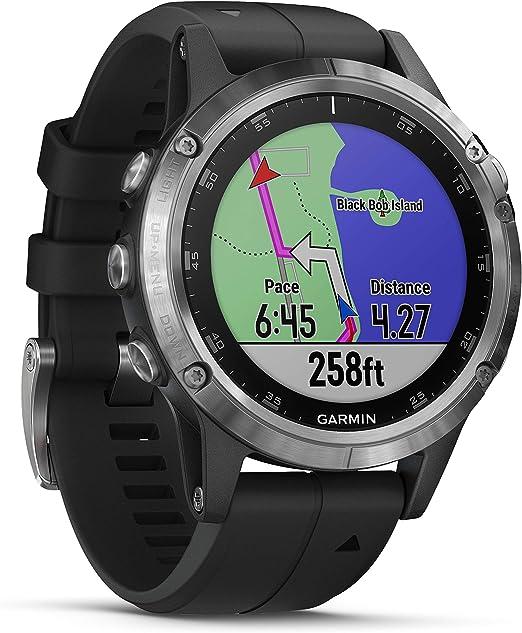 Garmin Fenix 5 Plus - Reloj GPS multideporte, Plata con correa negra: Amazon.es: Deportes y aire libre