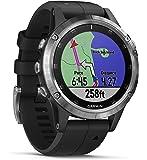 Garmin Fenix 5 Plus Smartwatch Multisport con Mappe GPS, Musica e Pagamento Contactless, Glass 47 mm, Silver con Cinturino Nero