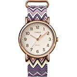TIMEX 女式 tw2r59000WEEKENDER 38紫色 Chevron 面料 slip-thru 表带腕表