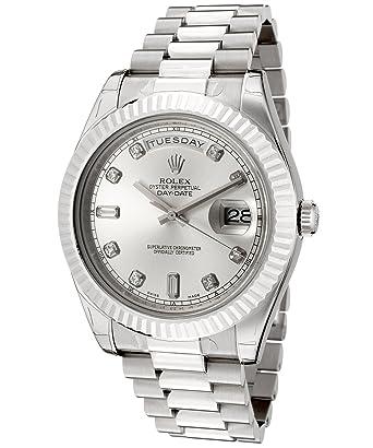 f8360f3ed59f Amazon.com  Rolex Men s Day-Date II Automatic White Diamond Silver Dial  President 18k Solid White Gold  Watches