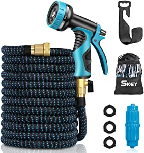 SKEY Garden Hose 100ft-Flexible and Expandable Water Hose with 9 Function Nozzle, 3/4