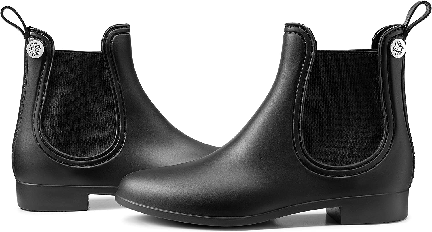 Silky Toes Womens Ankle Boots Matte Waterproof Short Chelsea Rain Boots