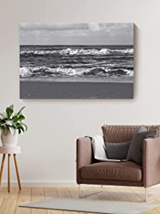 Christmas Sweater for women Ocean Waves and The Shore Canvas Nature Landscape Artwork Entryway Living Room Black and White Wall Décor Home Workplace Aesthetic Prints 24