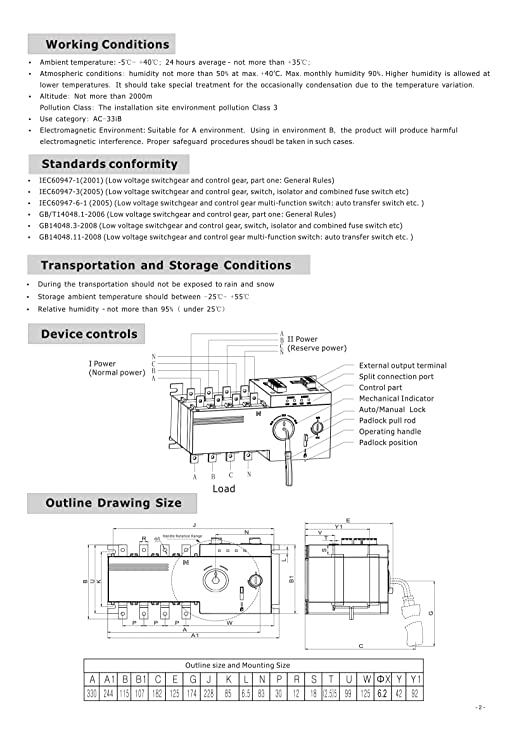 4PRO ATS-100A-4P-i Automatic Transfer Changeover Switch, 4 pole, 100A, 120/208V, 50/60Hz, 2-3 phase - - Amazon.com