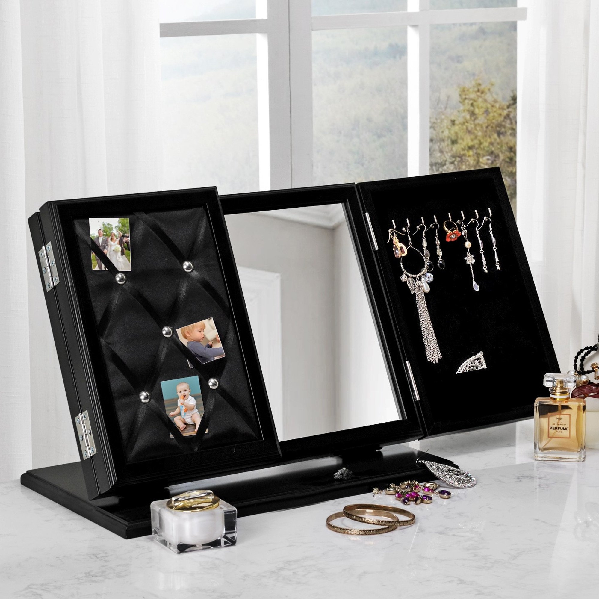Inspired Home Cindy Modern Contemporary 3-in-1 Trifold Tabletop Vanity Mirror with Jewelry Storage and Memo Board, Black