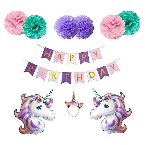 Amazon.com: Unicornio decoración de la fiesta de cumpleaños ...